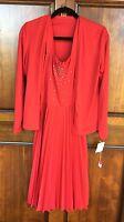 Vtg Alfred Shaheen Red 2 Piece Pleated W/rhinestones Dress W/jacket & Belt Sz 10