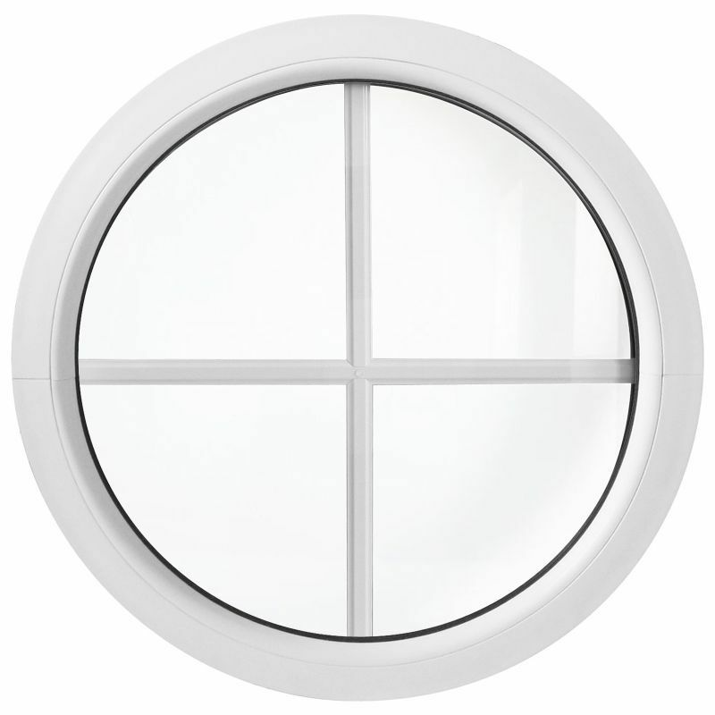 Rundfenster Fest mit Sprossen / Ausmaß 50cm 55cm 60cm 70cm 80cm 90cm 100cm Weiß