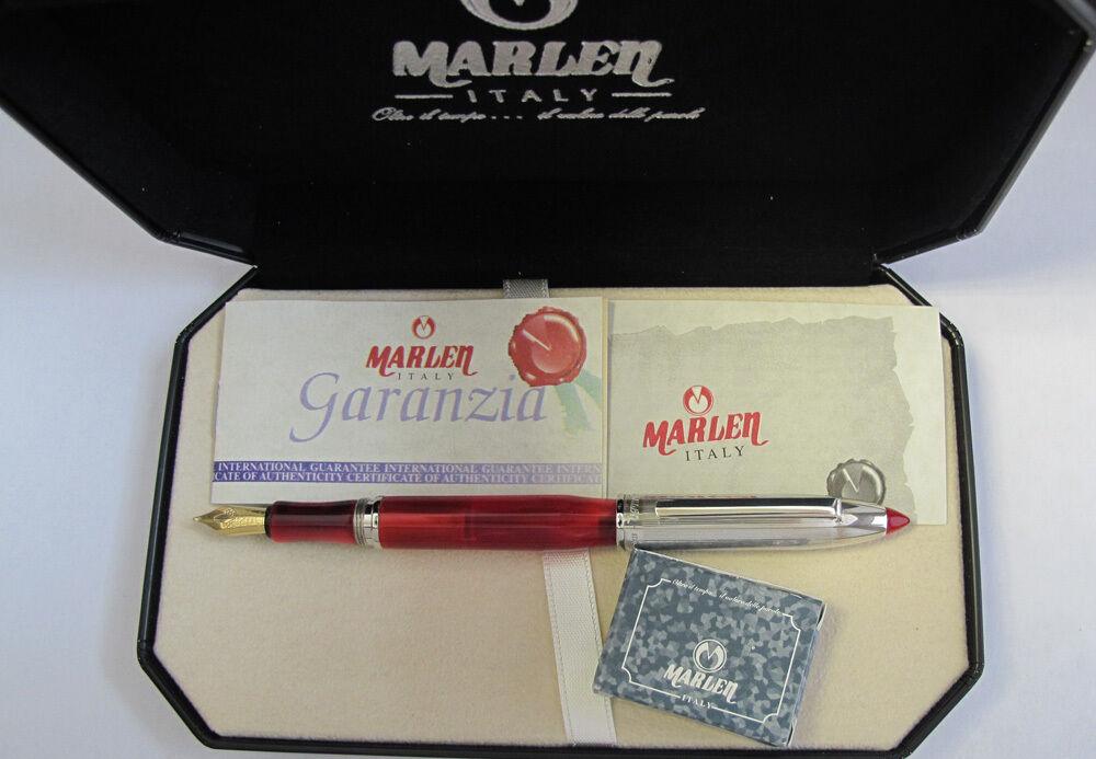 Marlen Shuttle Rot & Silber Füllfederhalter 18kt Gold Medium Pt Stift | Fein Verarbeitet