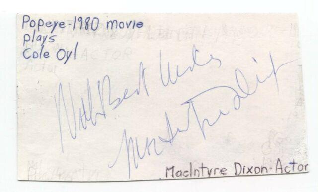 MacIntyre Dixon Signed Cut Index Card Autographed Signature Popeye