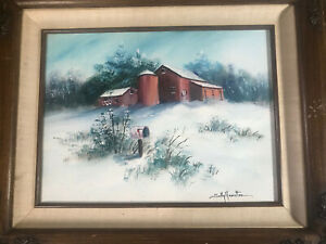 Vintage-Sally-Hamilton-034-Winter-Barn-Scene-034-Oil-Painting-Signed-And-Framed