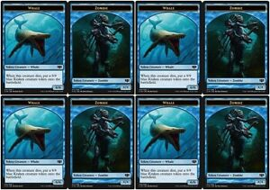 4 X Whale Zombie Token Nm Mtg Commander 2014 Blue Creature Token