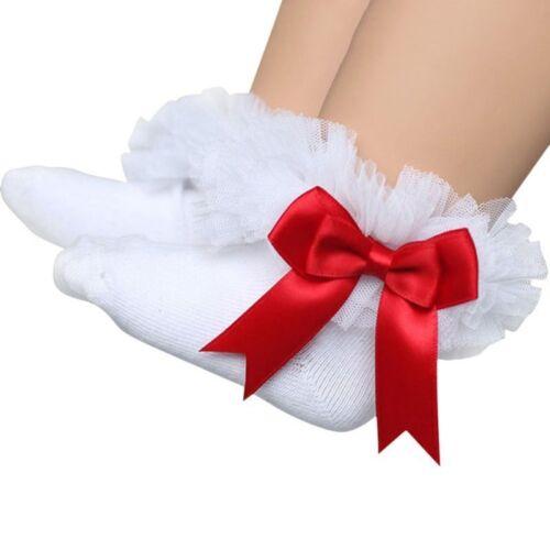 Newborn Baby Girls Tutu Socks Bow Lace Infant Ruffle Frilly Cotton Short Socks