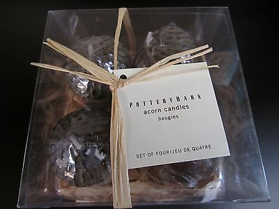 Pottery Barn Acorn Candles Set of four New in Box w/ Tag fall decor home gift