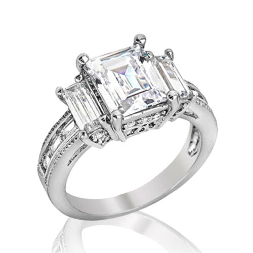Samie Collection White Gold Plated Emerald Cut CZ 3Stone Wedding Engagement Ring