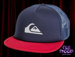 watch d9d8a 525b2 Image is loading New-Quiksilver-Snap-Addict-Mens-Navy-Foam-Trucker-