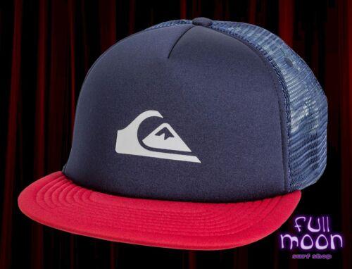 New Quiksilver Snap Addict Mens Navy Foam Trucker Mesh Snapback Cap Hat