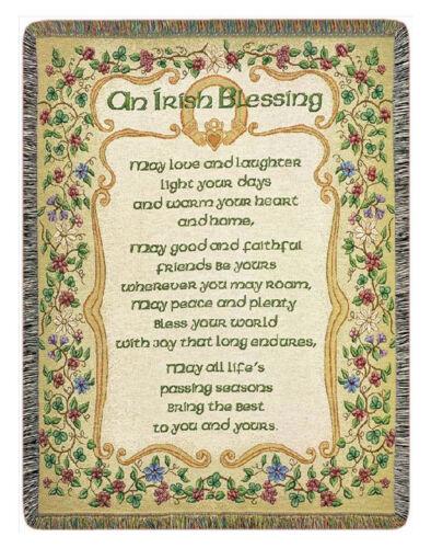 "IRELAND IRISH BLESSING TAPESTRY THROW BLANKET CELTIC THROWS 51/"" x 68/"""