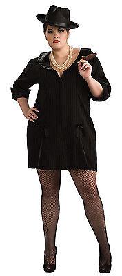 Gun Moll 20/'s Gangster Girl Black Dress Up Halloween Plus Size Adult Costume