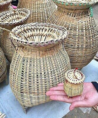 Fishing Tool Bamboo Vintage Basket Woven Thai Traps Miniature Hamdmade
