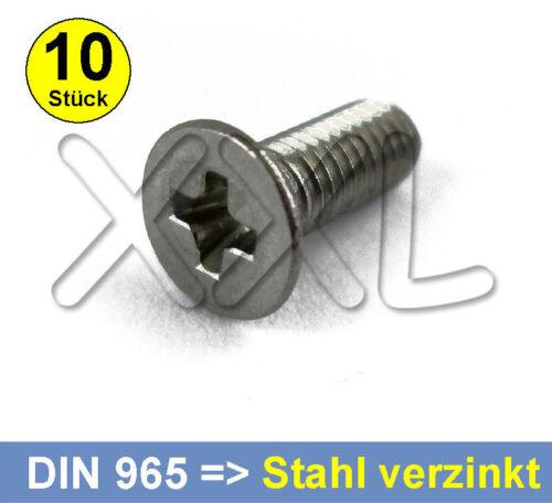 M3 x 10 DIN 965 Senkkopf PH Kreuzschlitz Schrauben Stahl verzinkt DIN965 M3x10