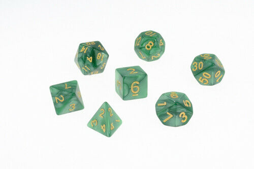 Dice Pearl Set of 7 Emerald Green Pearl with Gold Digits Dice