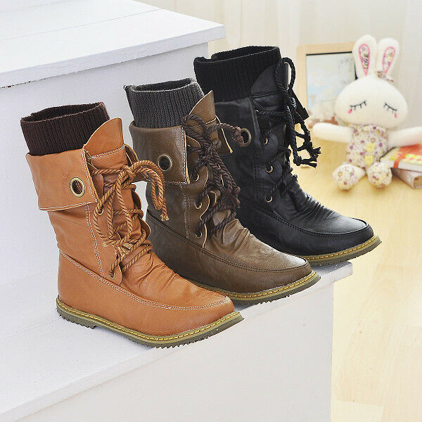 Retro Womens Round Toe Boots Kintted Lace Up Flat Casual Booties Fashion shoes