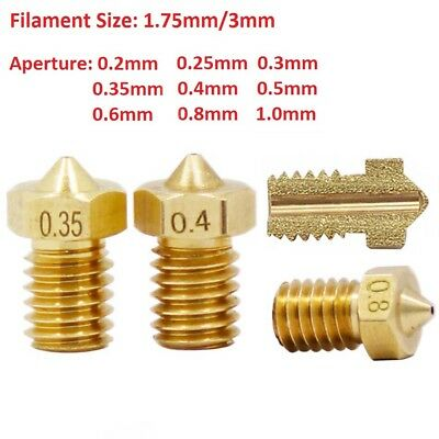 Nozzle Head 0.2mm to 1mm M6 Thread 1.75/&3.0mm For V5 V6 3D Printer Extruder