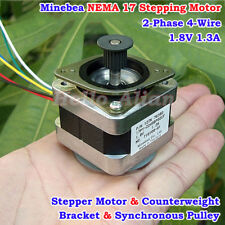 Nmb Minebea 09 Degree Nema17 2 Phase 4 Wire Stepper Motor Pulley 3d Printer Cnc