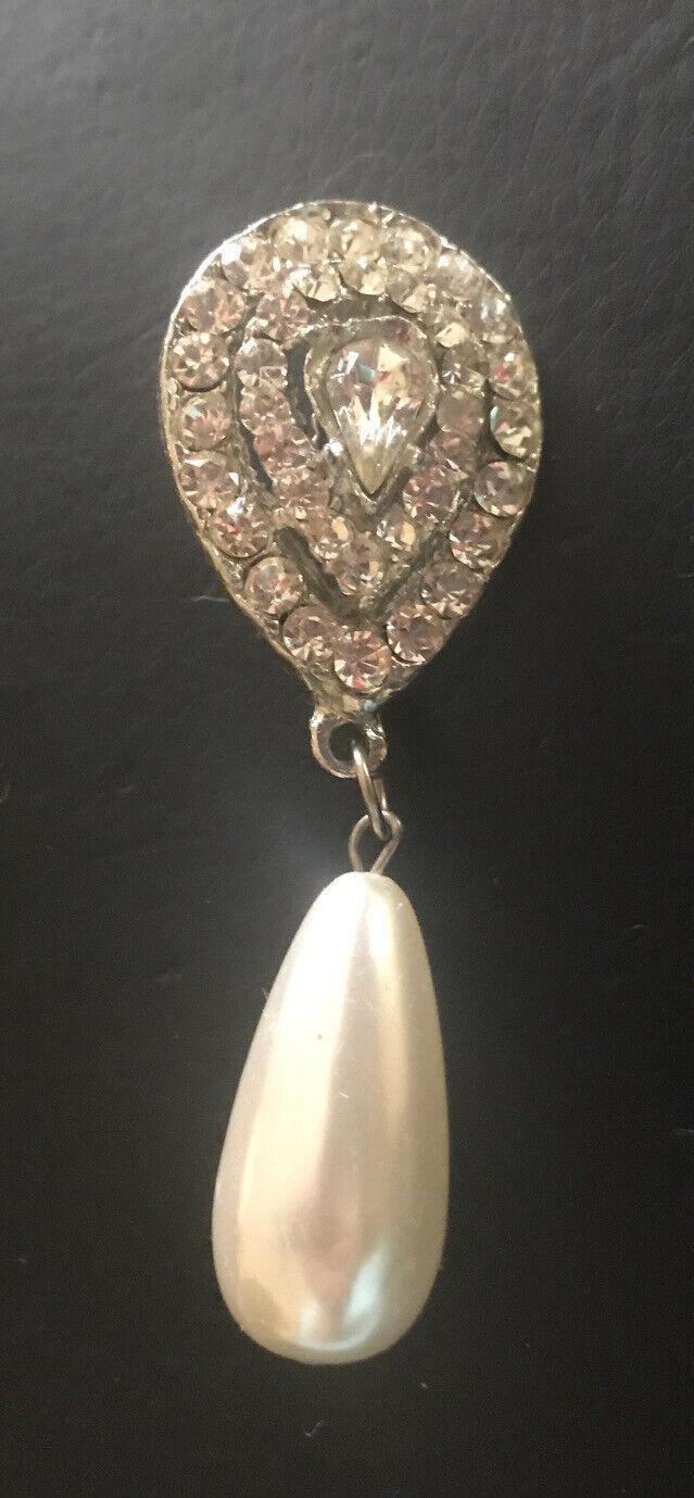 Crystal Pear Tear Rhinestone & Oblong Pearl Bead … - image 2