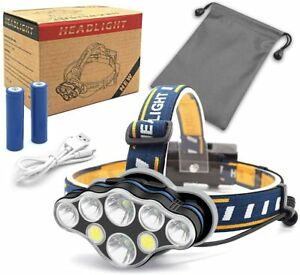 Linterna-Frontal-8-LED-18000-Lumen-USB-Recargable-de-Cabeza-Ligero-Impermeable