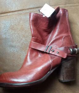 Details zu Pakros Stiefel Schuhe Gr. 41 Neu Wein Rot Leder