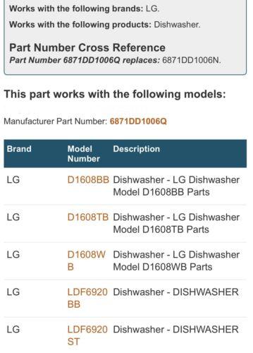 see pics. FOR DISHWASHERS LG MAIN CONTROL BOARD #6871DD1006N Q