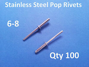 100-POP-RIVETS-STAINLESS-STEEL-BLIND-DOME-6-8-4-8mm-x-17-2mm-3-16-034