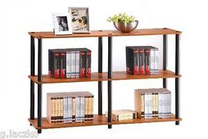 Open Storage Double Bookcase Shelf Wood Wide 3 Shelves Light Cherry Black New