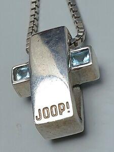Massiver-Block-Kreuz-Anhaenger-v-JOOP-925-Silber-Steinbesatz-amp-Silberkette-A904