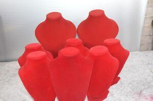 posto migliore outlet in vendita fascino dei costi espositori gioiello set di 8 colli espositori per collane velluto rosse ...
