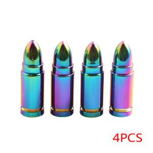 4x-Rueda-De-Coche-Bala-de-color-arco-iris-valvula-de-tallos-Neumaticos-Aire-Polvo-Cubre-Tapas