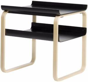 NIB-Artek-Alvar-Aalto-Side-Table-915-Birch-frame-black-shelves-Mid-century-Eames