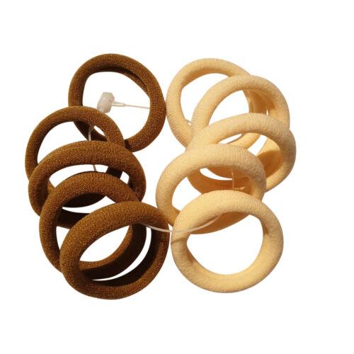 10//12 3 cm Petit Doux Endless Snag Free Ponios Cheveux Elastics Bobbles Bands Donut