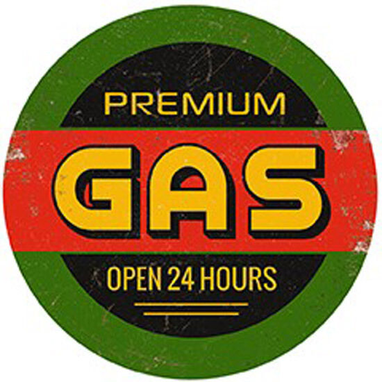 Premium Gas - Vintage Round - Metal Wall Sign (2 Größes - Large and Jumbo)