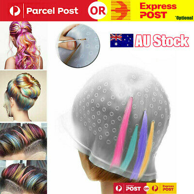 Details about  Reusable Hair Cap Salon Highlighting Tinting Hairdressing Streaking Silicone Hat