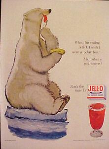 1954-Jell-O-Gelatin-Dessert-Polar-Bear-Cartoon-Illustrators-Kitchen-Art-Print-AD