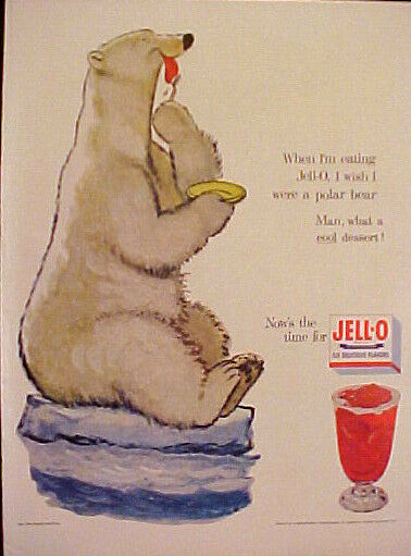 1954 Jell-O Gelatin Dessert Polar Bear Cartoon Illustrators Kitchen Art Print AD
