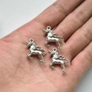 10X Tibetan Silver 3D Unicorn Pony Zinc Alloy Charm Pendant 20*23mm DIY Craft