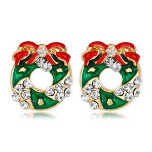 3ce12de7eb73a Details about Beautiful Green & Red Wreath Stud Christmas Earrings for Xmas  Gift E1333