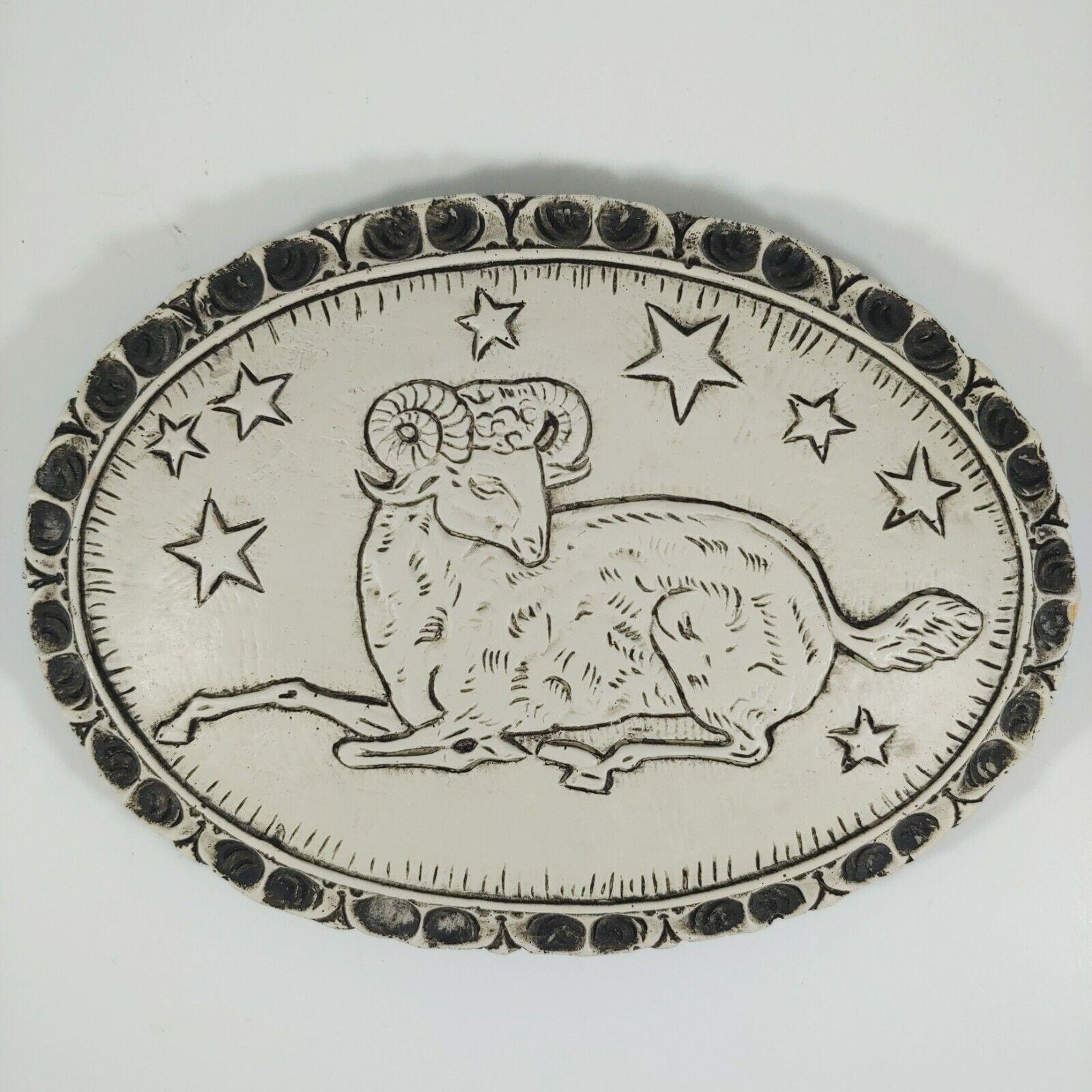 ARIES the RAM Zodiac Rustic Gray & White 6