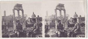 Roma Italia Forum Deux Soldati Stereo di Carta Vintage Analogica Ca 1915