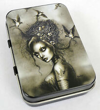 VICTORIAN VINTAGE SWALLOWS GIRL GOTH PUNK ROCK TATTOO TOBACCO TIN MINT PIN-UP