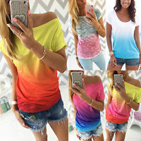 Women's Summer Gradient Casual Short Sleeve T-shirt Crew Neck Tops Blouse Shirt