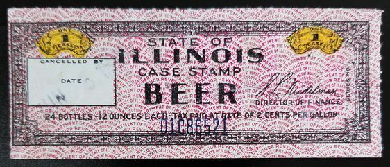 One Case Beer 24 12-Ounce Packages Case Stamp State of