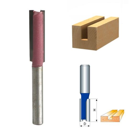 "Woodworking Double Flutes Straight Router Bit Cutter 1//4 /""Shank 3//8/"" Blade Tool"