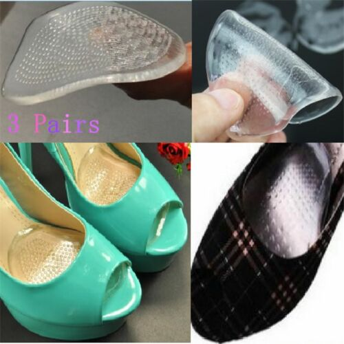 3 Pairs Clear Soft Gel High Heel Shoe Front Pads Cushion Insoles Foot Care New
