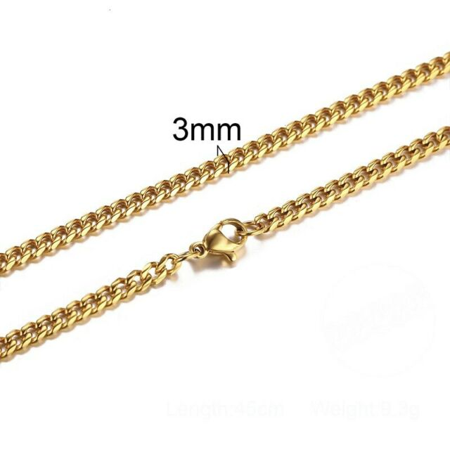 Cuban Link Choker Stainless Steel Necklace For Men Jewelry 3 To 7 Mm Ebay