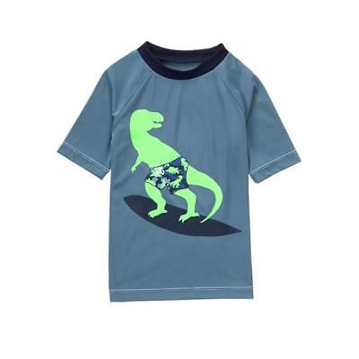 NWT GAP Radical Shark Graphic Stripe Rashguard Swim Shirt Top Boys XS 4 5 4T 5T