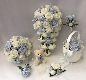 Wedding Flowers Ivory Rose Crystal Bouquet Bridesmaid Bride Flower-Girl Wand