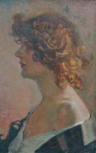 E-BERCHMANS-1867-1947-Ecole-belge-Portrait-de-jeune-femme-rousse