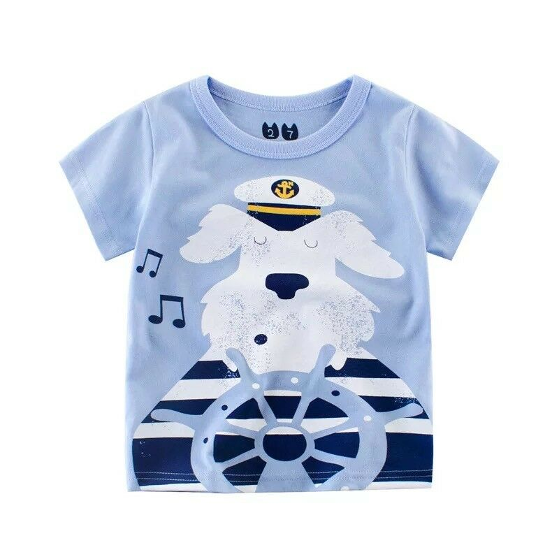 Baby Kids Boy Tee T-shirt Casual Sweat Captain Dog Print 5y-8y