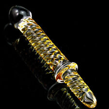 *** LARGE YELLOW WAND SHAPED GLASS_TOY DILDO_ANAL FAST SHIPPING ADULT TOY ***