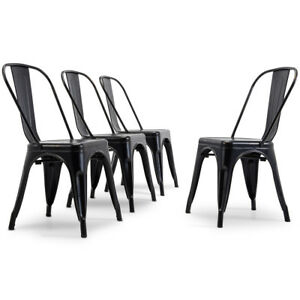 Image Is Loading Antique Black Set Of 4 Metal Chairs Stackable